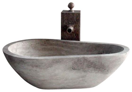 Piedra Pavo Free Standing Bathtub In Hand Carved Stone Contemporary Batht