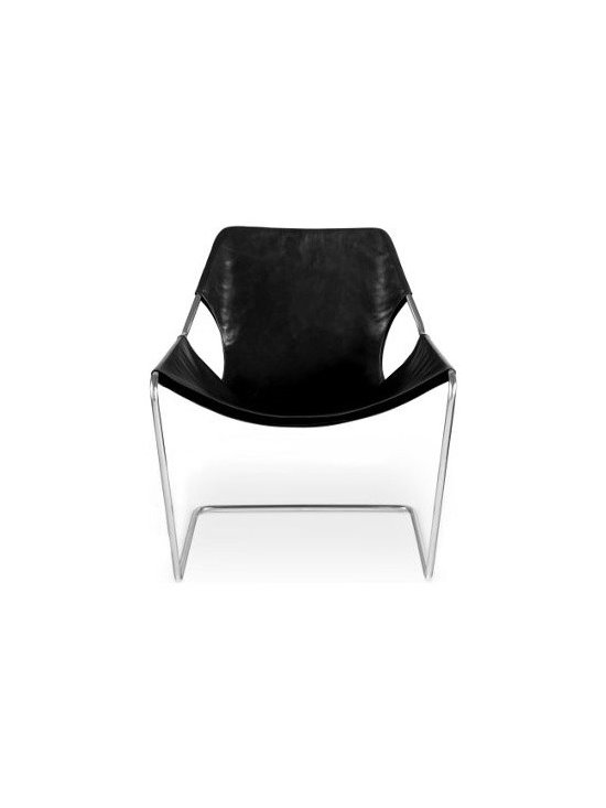 Design Within Reach - Paulistano Armchair | Design Within Reach - The work of Brazilian Paulo Mendes da Rocha reached international recognition when he was awarded the 2006 Pritzker Architecture Prize. That same year, we introduced his Paulistano Armchair – a 1957 classic that had never before been available in the United States. This chair was originally designed for the Paulistano Athletic Club in São Paulo, Brazil. The frame, a continuous 17-foot long piece of solid stainless steel, is welded in a single spot. This deceptively simple structure is then wrapped in almost an entire hide of leather that will gain depth and luster as it ages. Exceptionally comfortable, the Paulistano flexes slightly and the sling can be adjusted up or down the frame for upright or relaxed sitting positions. The stainless steel frame is hand-machine polished and may exhibit markings consistent with hand craftsmanship. Made in Brazil. DWR exclusive.