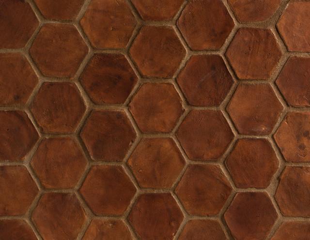 Spanish Terracotta Tiles Stained Light Walnut mediterranean-floor-tiles