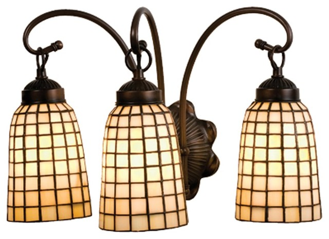 Meyda Tiffany Arts And Crafts Beige Geometric Transitional Bathroom Vanity Light Traditional