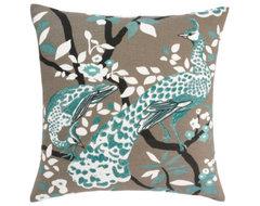 DwellStudio Peacock Pillow, Azure contemporary-decorative-pillows