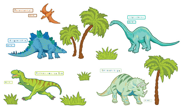 Dinosaur Expedition Wall Decals - Contemporary - Kids Wall ...