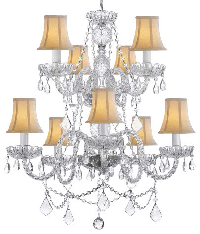 Murano Venetian Style All Crystal Chandelier With Shades Traditional Chandeliers By Gallery