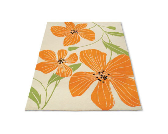 """Grandin Road - Tiger Lily Area Rug - 3'6"""" x 5'6"""" - Vibrant display of tangerine tiger lilies. Neutral ground. Hand-hooked construction. Crafted from 100% poly-acrylic fibers for impressive durability. With its vibrant display of tangerine lilies, our hand-hooked Tiger Lily Rug is sure to add some spring to your step. The bold, blooming scale pairs with a versatile low profile and natural field to make a rug that coordinates well in most any room of your home.. . . . Imported."""