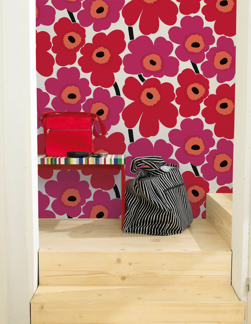 Marimekko Unikko Wallpaper, Red and Pink eclectic wallpaper
