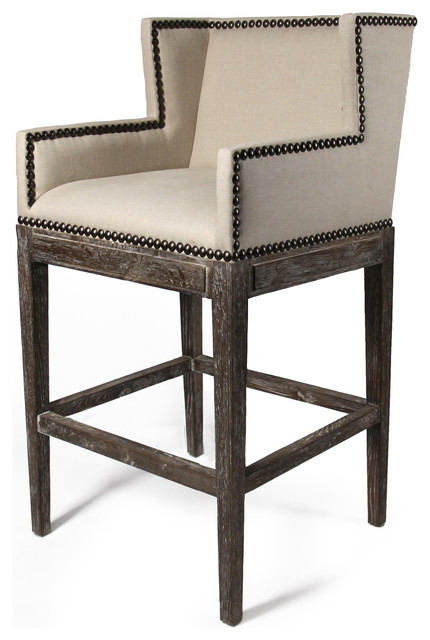French Country Contemporary Nail head Linen High Backed Bar Stool transitional-bar-stools-and-counter-stools