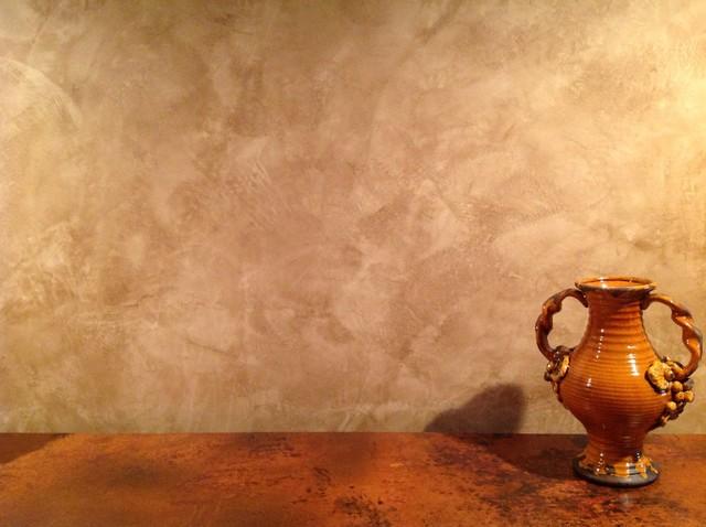 Foyer Faux Finish Detail Of Waxed Venetian Plaster