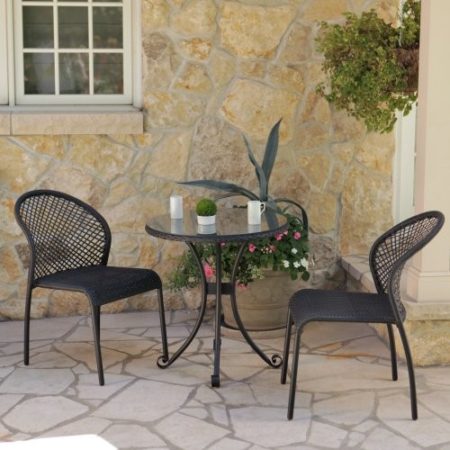 Terrace Living Rioja Collection All-Weather Wicker Bistro Set modern-outdoor-tables