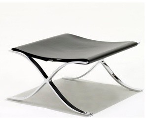 Knoll | Barcelona Stool with Cowhide Sling modern-footstools-and-ottomans