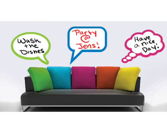 Writable wall decals - Talk through your walls! Our set of 3 bubbles will allow you to leave a message displayed for everyone to see - no more boring notes or post its. This product is made of removable whiteboard vinyl, which you can write on to with dry erase markers. Clever and cute, these wall decals will change the look of your decor. From $58.
