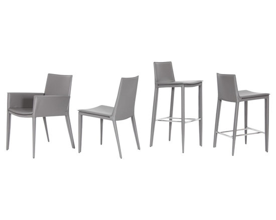 Tiffany Collection by sohoConcept - Tiffany is a stylish dining chair with a comfortable upholstered seat and backrest with steel tube frame structure wrapped by regenerated leather. Each leg is tipped with a plastic glide inserted to the metal tube. The chair has a slightly padded seat upholstered with regenerated leather only. The chair is suitable for both residential and commercial use