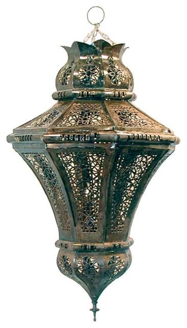 Moroccan Metal Lace Hexagonal Hanging Lantern white or BZ outdoor-hanging-lights