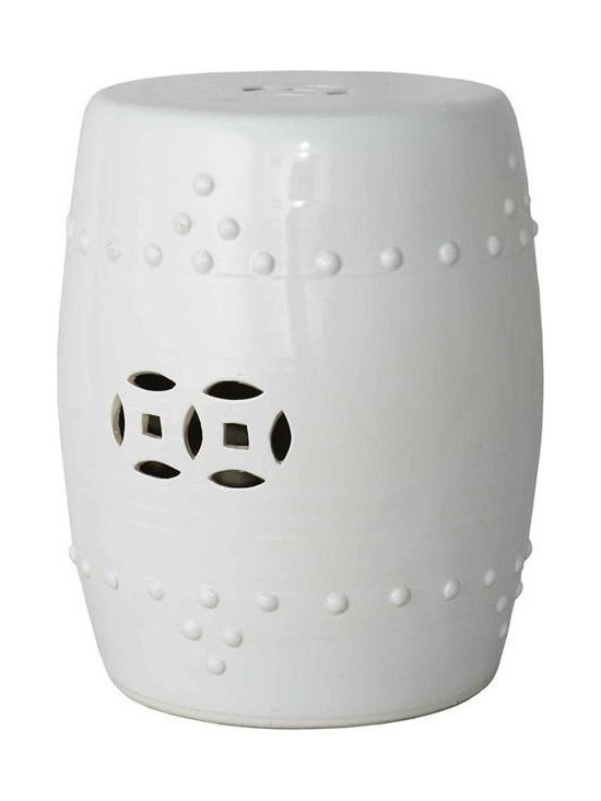 Belle & June - Garden Stool - Elegant in its simplicity but no less beautiful, this White Garden Stool profoundly captures the beauty and artistry that typifies Asian design. Adds character and sophistication to any living space.
