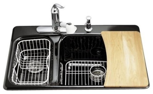 KOHLER K-5924-4-7 Lakefield Self-Rimming Kitchen Sink with Four-Hole Faucet Dril traditional-kitchen-sinks