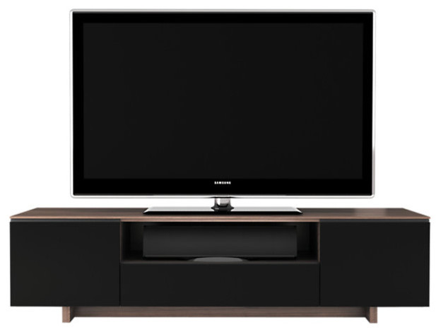 Nora TV Stand 8239 Flat Panel, Walnut - Contemporary - Entertainment Centers And Tv Stands