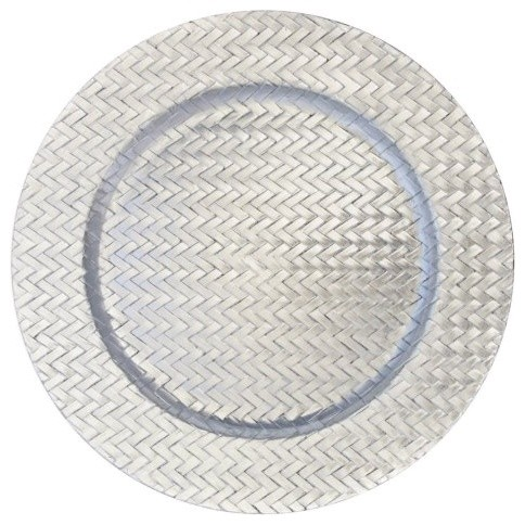 Charge it by Jay Silver Braid Charger Plates - Set of 4 modern-charger-plates