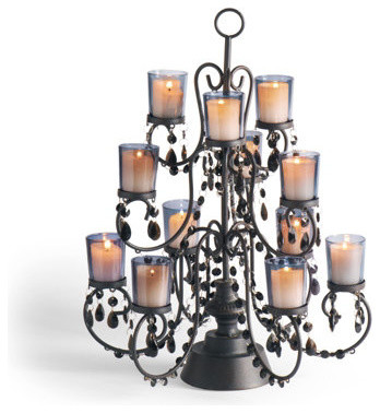 Table Top Beaded Halloween Candelabra - Halloween Decorations and Decor traditional-holiday-decorations