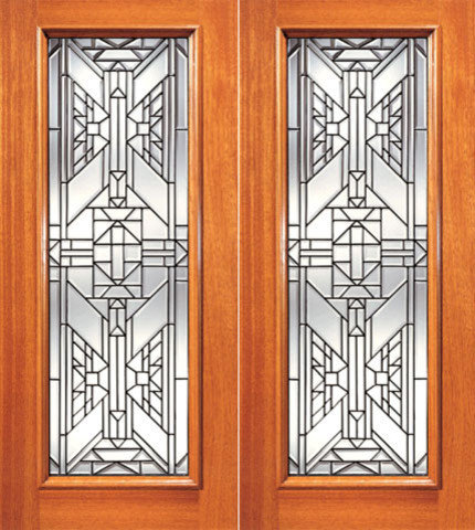 Ornate Design  Beveled Glass, Double Door, Triple Glazed Glass Option contemporary-front-doors