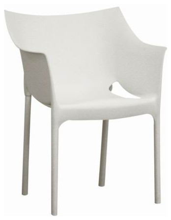 White Molded Plastic Arm Chair (set of 2) contemporary-dining-chairs