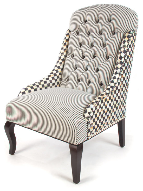 Courtly Check Underpinnings Dining Chair | MacKenzie-Childs - Our Underpinnings Collection now includes several wonderful seating options, including a banquette, a host chair, and a dining chair. Made in the U.S., all Underpinnings pieces feature an eco-friendly frame of sustainably harvested hardwood and eight-way hand-tied coil construction for outstanding comfort.