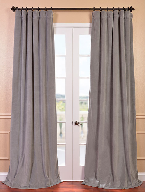 Signature silver grey velvet 120 inch blackout curtain for 120 inch window treatments