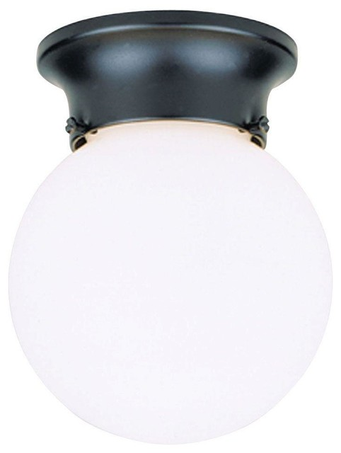 Westinghouse Flush Mounts 1 Light Black Flush Mount Exterior Fixture With Whi