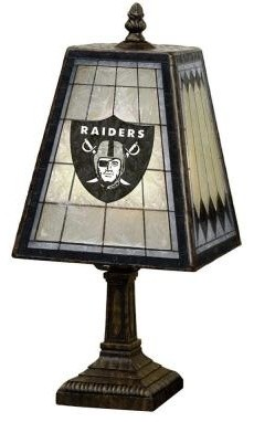 Novelty Lamps Nfl 14 In Oakland Raiders Art Glass Table