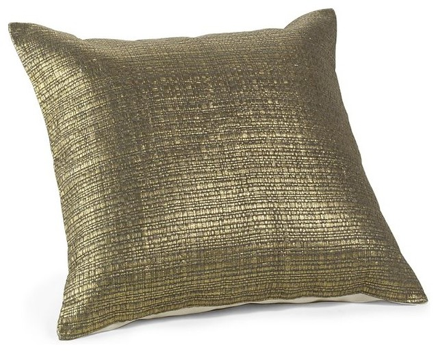 Gilded Grass Cloth Pillow Cover contemporary-decorative-pillows