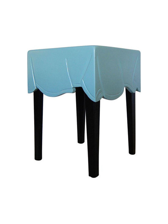 Hand Carved Blue Drape Side Table - Dimensions 15.0ʺW × 15.0ʺD × 20.0ʺH