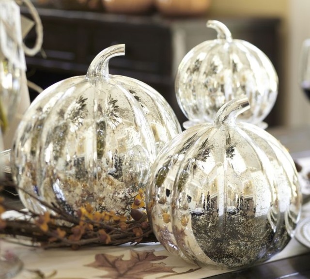 Antique Mercury Glass Pumpkin modern-holiday-decorations