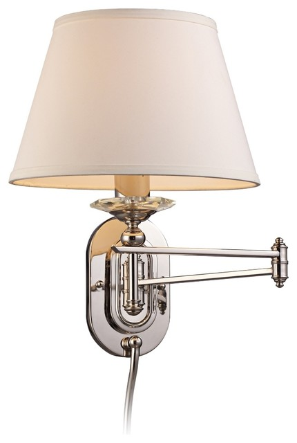 Wall Lamps With Shades : Off-White Shade Polished Nickel Plug-In Swing Arm Wall Lamp - Traditional - Wall Lighting