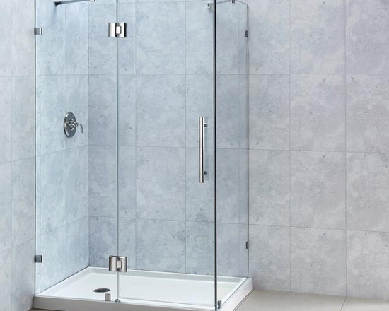 "DreamLine QuatraLux 48"" x 34"" Shower Enclosure SHEN-1332460 - The QUATRA LUX shower enclosure delivers an upscale modern look to your bathroom at an incredible value. Get the look of custom glass with premium 3/8"" thick tempered glass and a sleek frameless design. The QUATRA LUX uses self-closing solid brass hinges for a secure closure. Install the QUATRA LUX on a custom tile floor or combine with a DreamLine shower base for a streamlined transformation."