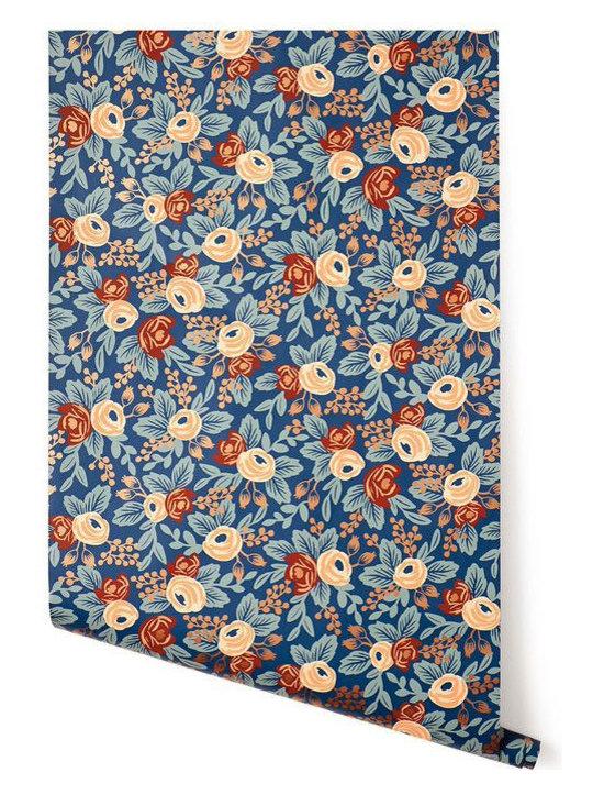 Rosa Wallpaper, Indigo -