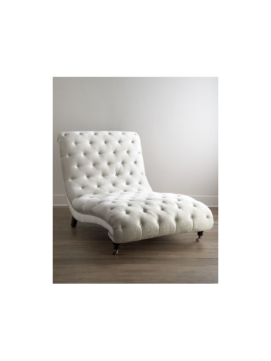 """Haute House - Haute House Tufted Silver Chaise - Beautifully curved and deeply tufted, this chaise invites resting, relaxing, reading, daydreaming—whatever takes your fancy. Alder wood frame. Polyester/rayon upholstery. 46.5""""W x 79""""D x 45""""T; seat, 14.5""""T. Handcrafted in the USA. Boxed weight..."""