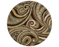 Dark Olive Green Round Rug contemporary-rugs