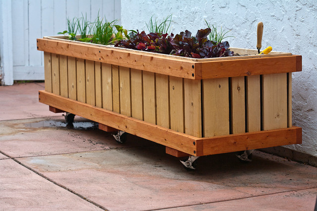 "M28, 2 x 7.5' x 23"" Mobile Planter modern-outdoor-planters"