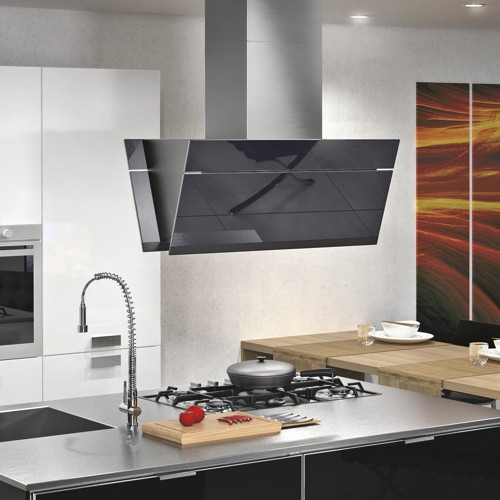 "36"" Gullwing Black Island Modern Range Hoods And Vents"