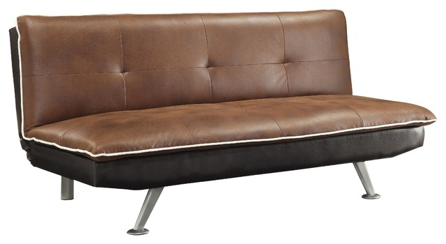 Retro Brown Coated Microfiber Tufted Sofa Beds Sleeper