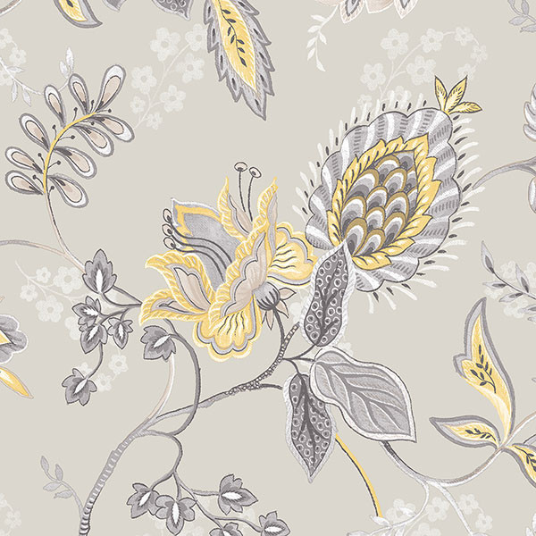 Large floral in grey and yellow gc29829 traditional wallpaper by pebblestone wallcoverings - Gray and yellow wallpaper ...