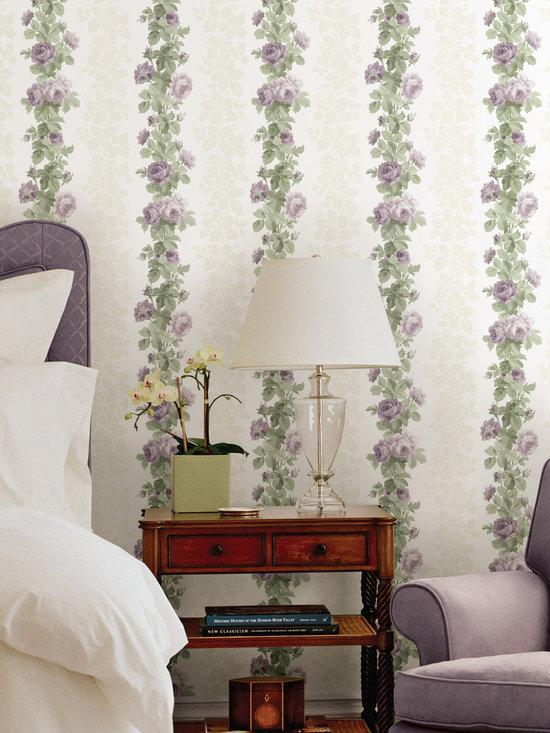 Preshea Purple Rose Stripe Brewster Wallpaper -