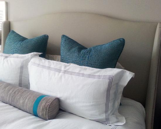 Custom Upholstered Headboard, Pillows, and Cushions -