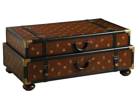 Lexington - Henry Link Henry Link Steamer Trunk Cocktail - This leather-clad stacking trunk cocktail table bears the signature Henry Link monogram and authentic leather stitching on the two drawer handles and leather trim. The drawer interiors are lined with a custom passport design, and all decorative hardware is solid brass. Finish: Pullman Brown.