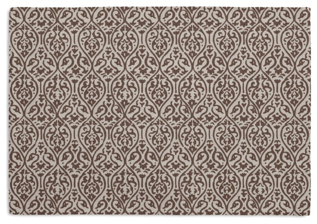 Gray Intricate Ogee Block Print Custom Placemat Set eclectic-placemats