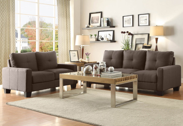 modern ramsey grey fabric sofa couch loveseat tufted