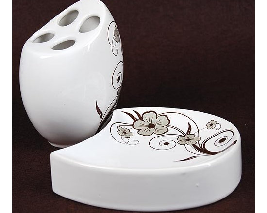 Elegant Flower Pattern Ceramic Bath Accessory Set - This bathroom set comes from a design concept of cobblestone. With the oval shape and beautiful flowers on the top, it creates a cute atmosphere. The soap dispenser with pump looks like a duckling, very lovely. There can be more choices for the color of strips.
