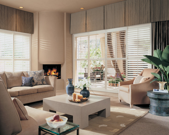 Traditional White Plantation Shutters Modern Living