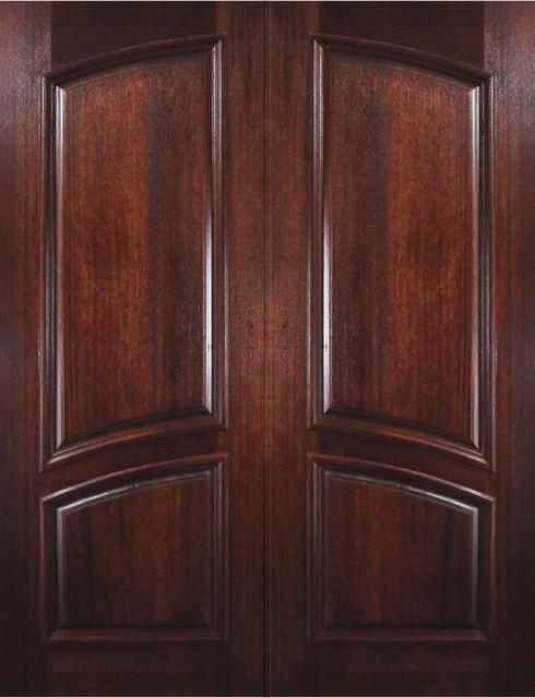 Prehung Entry Double Door 96 Wood Mahogany 2 Panel Square Top Solid Rustic Front Doors