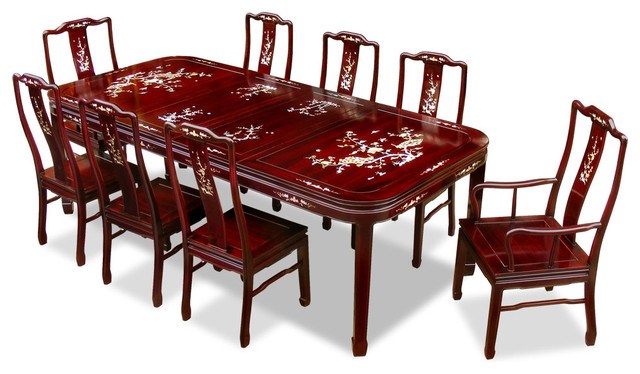 96in Rosewood Mother of Pearl Motif Dining Table with 8  : asian dining sets from www.houzz.com size 640 x 374 jpeg 82kB