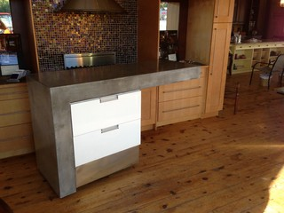 Rolling Concrete Island - Modern - Kitchen Islands And Kitchen Carts - other metro - by Liquid Stone