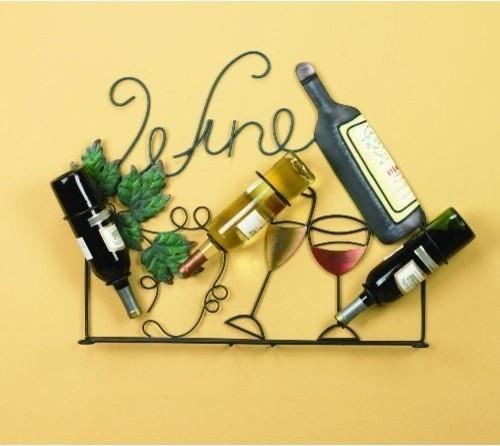 Wine Rack Holder Wall Art Bottles Glasses, Vintage Home Decor - Traditional - Home Decor - other ...